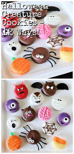 Halloween Peanut Butter Ritz Cookies (or Halloween Oreos) in 12 cute & creepy ways! ~ Looking for a fun Halloween treat?  Whip up some of these Halloween creature cookies, with 12 designs to choose from! They're one super cute, super tasty Halloween treat that's sure to please. #Halloween #Halloweencookies #Halloweenoreos  www.thekitchenismyplayground.com