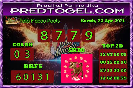 Pred Macau Kamis 22 April 2021