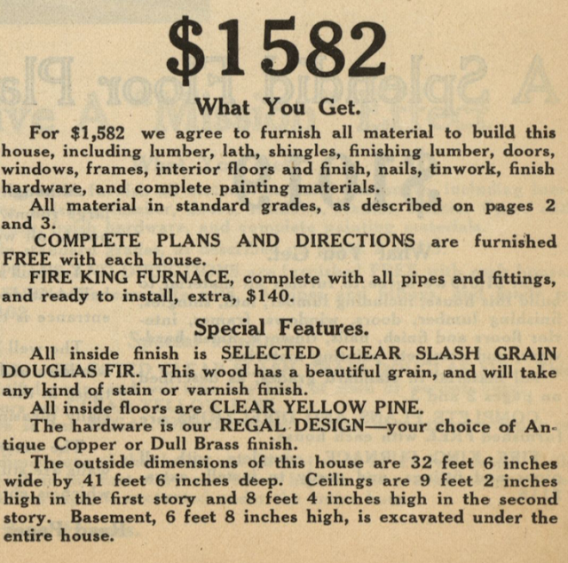 description of features that come with description of house from catalog page--Gordon-Van Tine Standard cut Home No. 115 1916 Standard Homes catalog