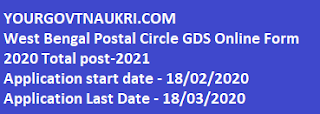 West Bengal Postal Circle GDS Online Form 2020,job in west bengal