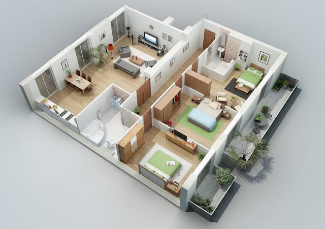 house plans 3 rooms 2nd floor