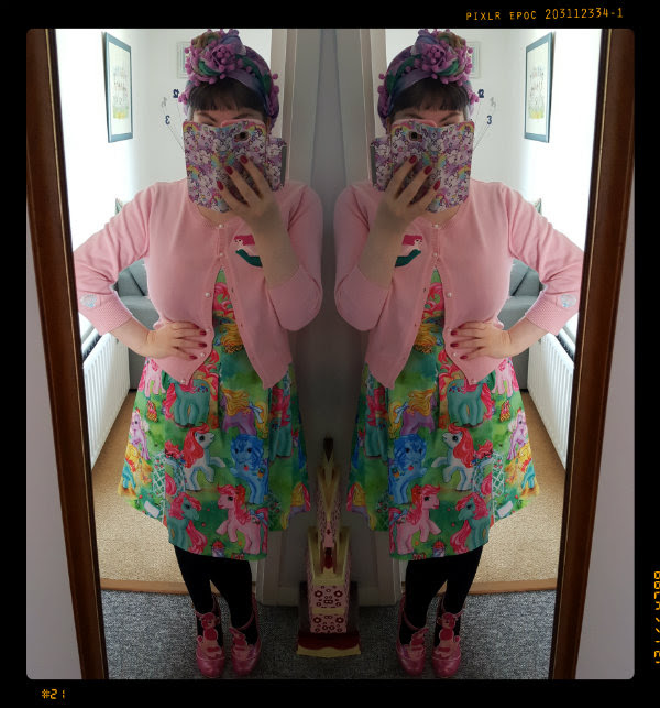 ootd wearing irregular choice unicorn scarf, pretty poodle shoes, collectif lucy mermaid cardigan and iron fist my little pony dress