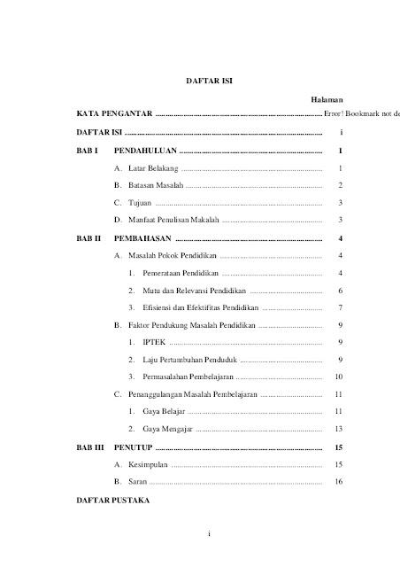 Semua daftar isi yang ada dalam makalah