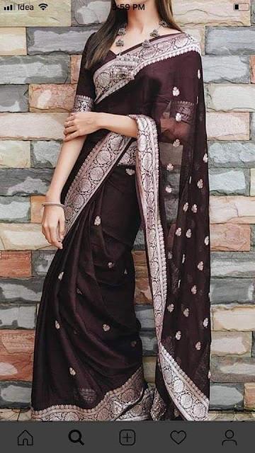 pure georgette chiffon silver buti banarasi saree  wine colour