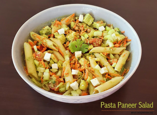 images of Pasta Paneer Salad With Spicy Cilantro Lime Dressing / Pasta Paneer Salad With Spicy Coriander Leaf Lime Dressing / Pasta Paneer Salad