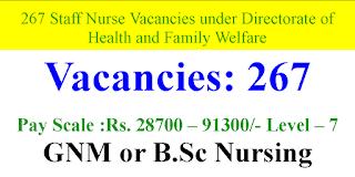 267 Staff Nurse Vacancies under Directorate of Health and Family Welfare