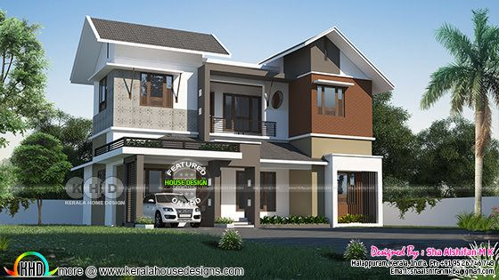 Left side view of a modern contemporary house
