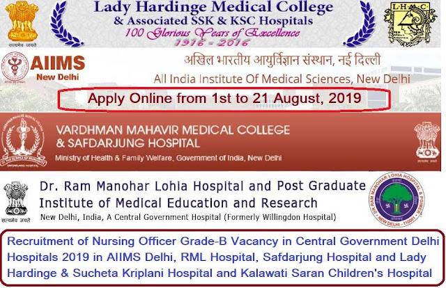 Nursing Officer Delhi Central Government Hospital Recruitment 2019