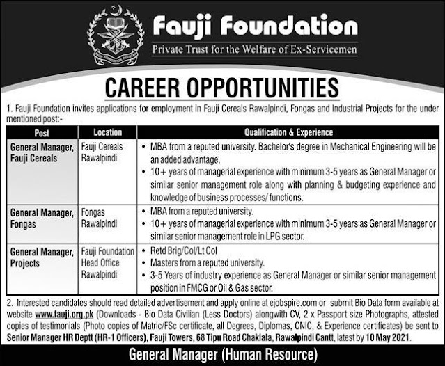 Jobs in Pakistan Fauji Foundation Jobs 2021