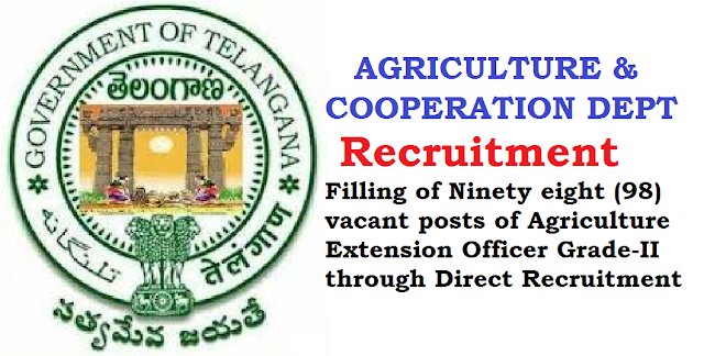 TS G.O.MS.No. 77|FINANCE (HRM.I) DEPARTMENT|AGRICULTURE & COOPERATION DEPARTMENT| Recruitment of Filling of Ninety eight (98) vacant posts of Agriculture Extension Officer Grade-II through Direct Recruitment | Permission to the Telangana State Public Service Commission – Orders –Issued. /2016/06/ts-gomsno-77-agriculture-cooperation-department-recruitment-filling-of-98-vacant-posts-of-agriculture-extension-officer-gradeII-direct-recruitment.html