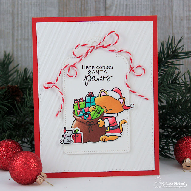 Santa Paws Christmas Card by Juliana Michaels featuring Santa Paws Newton Stamp Set by Newton's Nook Designs