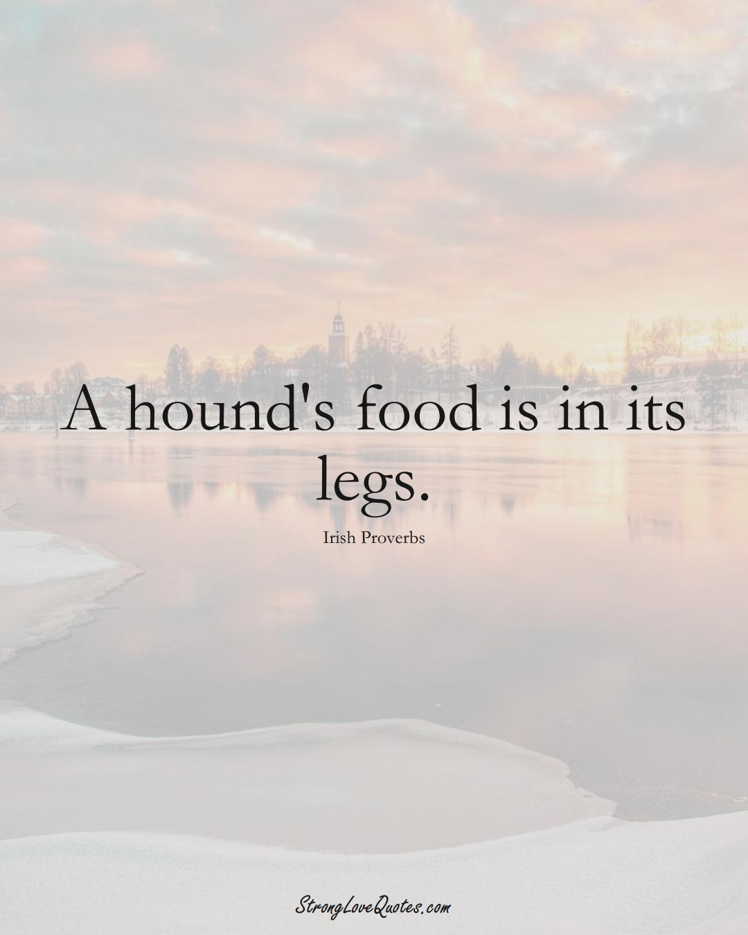 A hound's food is in its legs. (Irish Sayings);  #EuropeanSayings