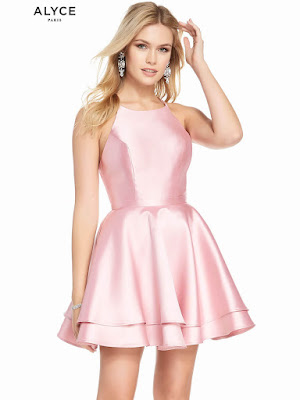 High Neckline Alyce Homecoming Dress Rosewood Color