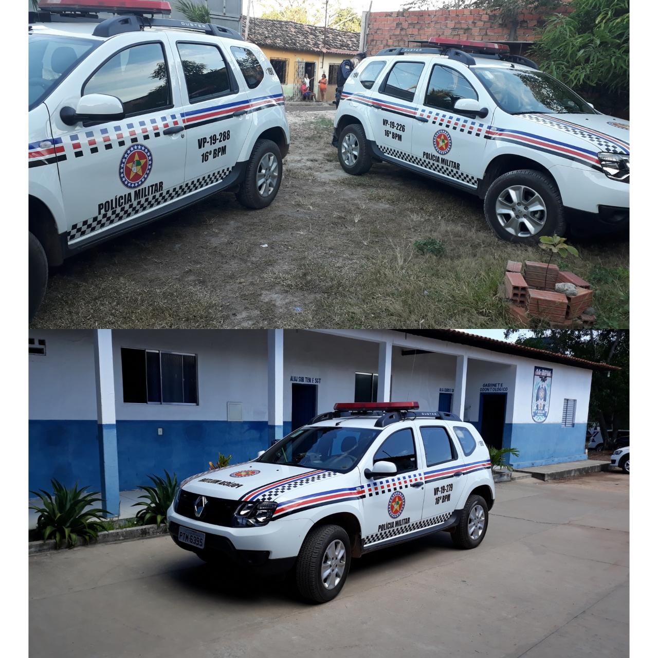 16º BPM: Chapadinha, Mata Roma e Buriti recebem novas viaturas da Polícia Militar.