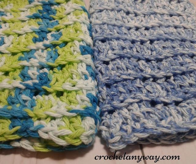 easy wavy crocheted spa washcloth in blue