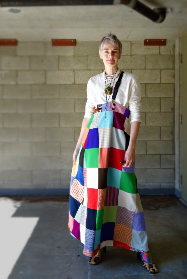 Bag and a Beret, Mel Kobayashi in patchwork skirt