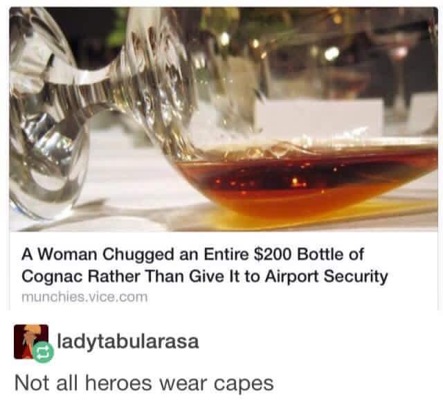 A woman chugs Cognac instead of handing it over