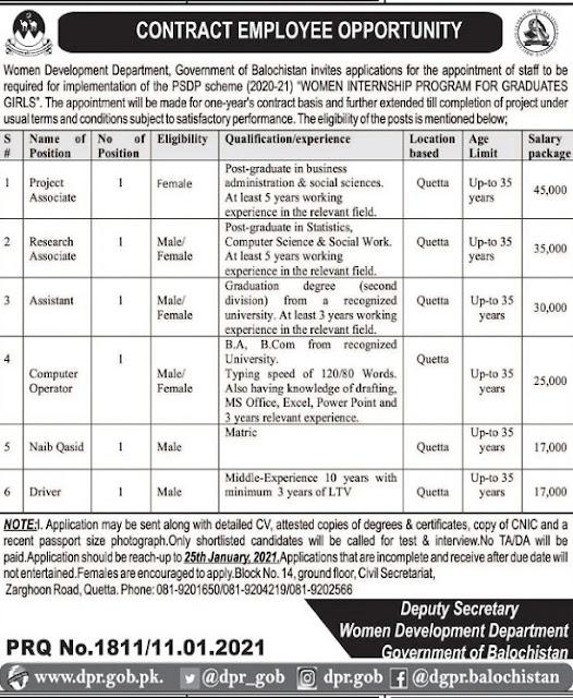 women-development-department-balochistan-jobs-2021-latest-advertisement