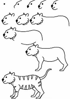 طريقة رسم نمر للاطفال