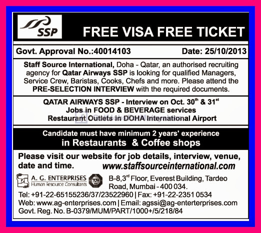Free Visa  Free Ticket For Qatar Airways  Gulf Jobs for Malayalees