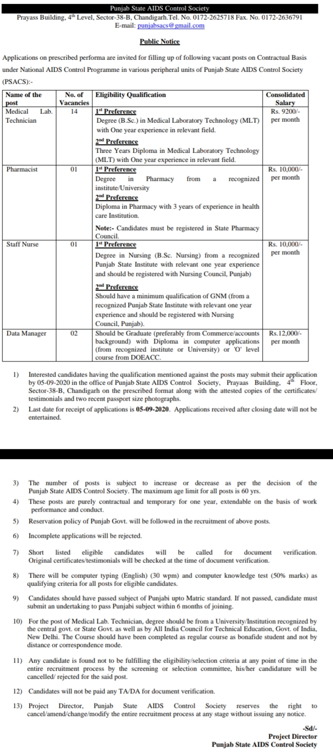 ictc punjab recruitment  aids control society recruitment 2019  aids control society chandigarh  haryana aids control society recruitment 2020  vacancies in punjab state aids control society  www.pbhealth.gov.in recruitment 2020  www pbhealth gov in psacs  aids control society vacancy,AIDS Control Society Punjab Recruitment Apply For 18 Vacant Post