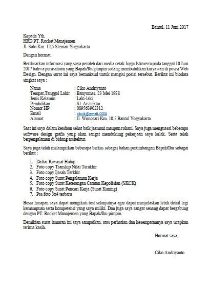 Contoh Surat Lamaran Kerja PDF Terbaik (via: saungsurat.blogspot.com)