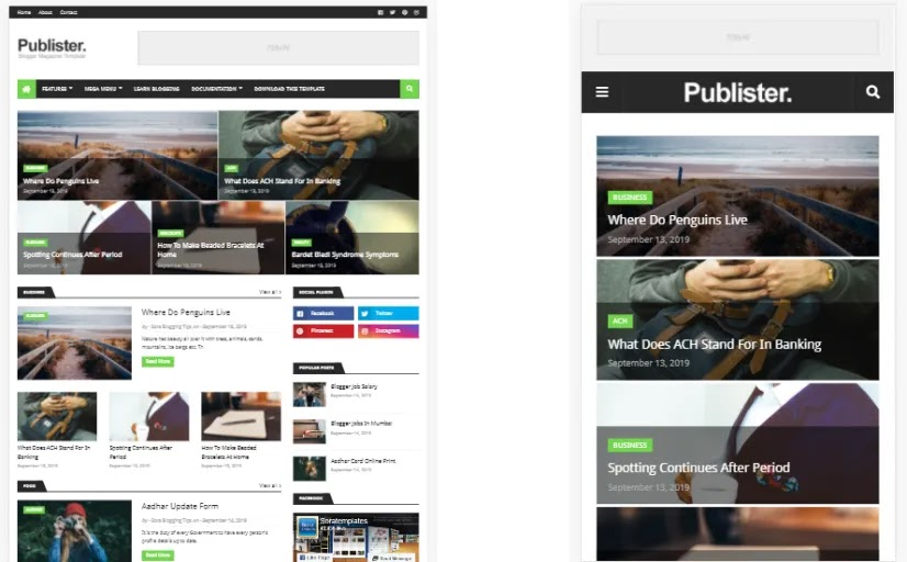 Publister Blogger template is highly optimized