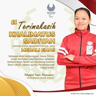 Khalimatus Sadiyah Atlet Bulutangkis Asal Mojokerto Rebut Emas Pertama Indonesia di Paralimpiade Tokyo 2020