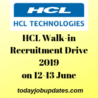 HCL Walk-in Recruitment Drive
