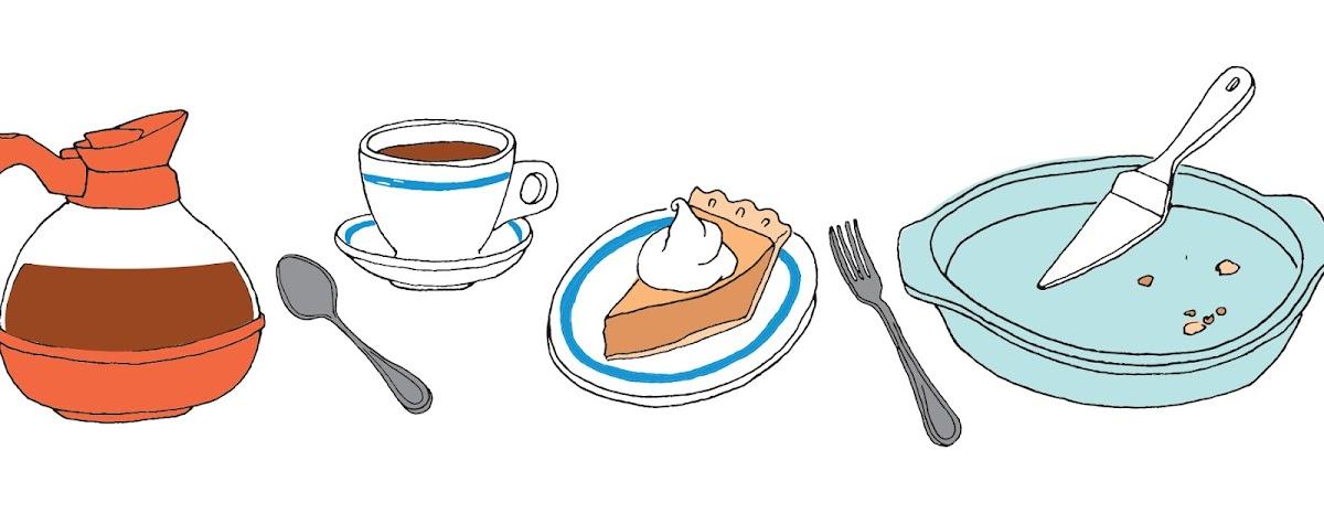 Waitress illustrations of coffee, pie, etc.
