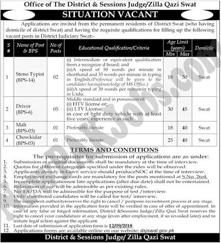 Jobs in (2018) District and Session Judge, Zilla Qazi Swat