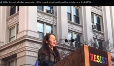 Alexandra Bolles at LGBTQ Solidarity Rally in NYC