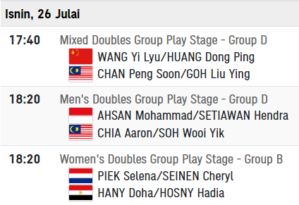 badminton olimpik 26 julai 2021
