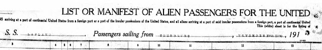 Grandpa's 1920 ship manifest