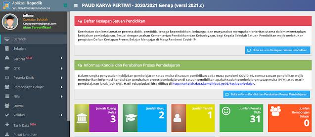 Cara Update dan Registrasi Aplikasi Dapodik PAUD Versi 2021.C