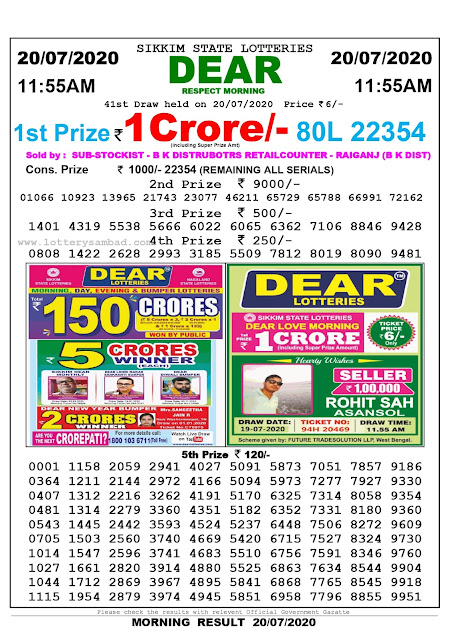 Lottery Sambad 20-07-2020 Sikkim State Lottery Result 11.55 AM