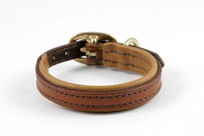 Collare in cuoio su misura per bassotto con imbottitura e fibbia in ottone.