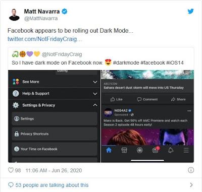 الوضع الليلي للفيسبوك