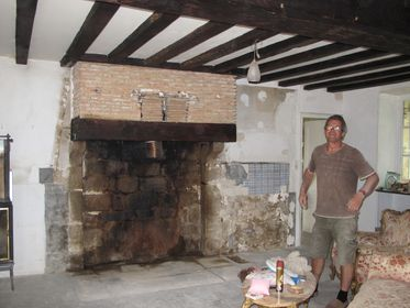 Inglenook fireplace, dirty work, Fireplace, inglenook, French fireplace, renovations in France.