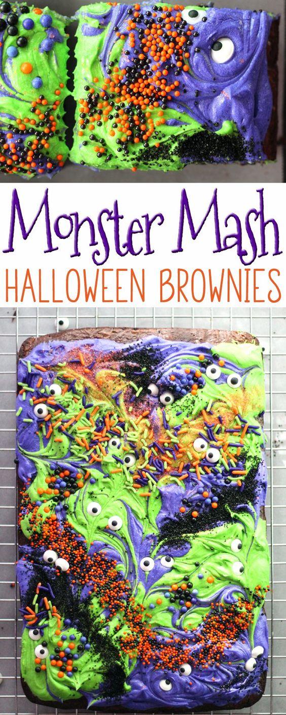 Scary-Cute Monster Mash Halloween Brownies