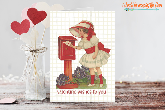 Printable Vintage Valentine Card