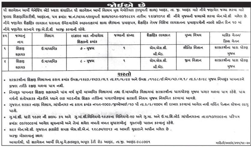Laghumati Shala Anand Shiskhan Shayak Recruitment