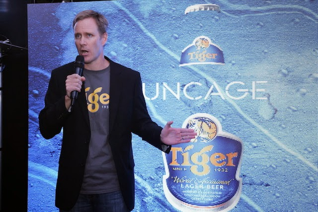 Mr. Bruce Dallas, Marketing Director of Guinness Anchor Berhad delivering his welcome note at Tiger Uncage Media Launch.