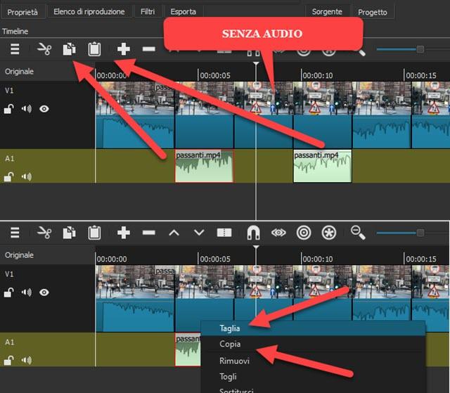 invertire video con audio silenziandolo o sostituendolo