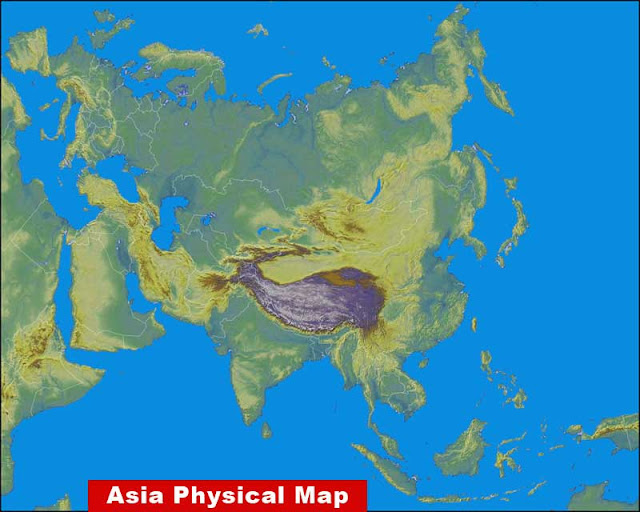 asia map physical features