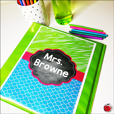 editable teacher binder cover for Mrs. Browne lime green, turquoise, and bright pink colors Terri's Teaching Treasures