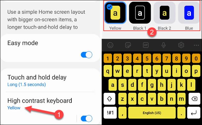 """شغِّل مظهر """"لوحة المفاتيح عالية التباين"""" أو أوقفه."""
