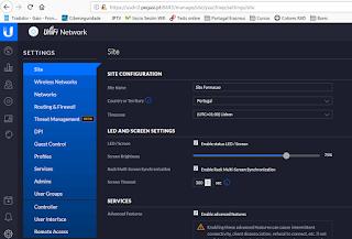 Esta image mostra uma captura de ecrã onde se pode ver uma parte do software de gerenciamento Unifi.