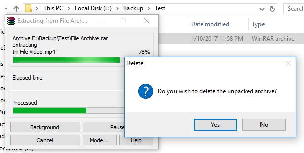 Cara Agar File Archive Dihapus Otomatis Setelah Diekstrak
