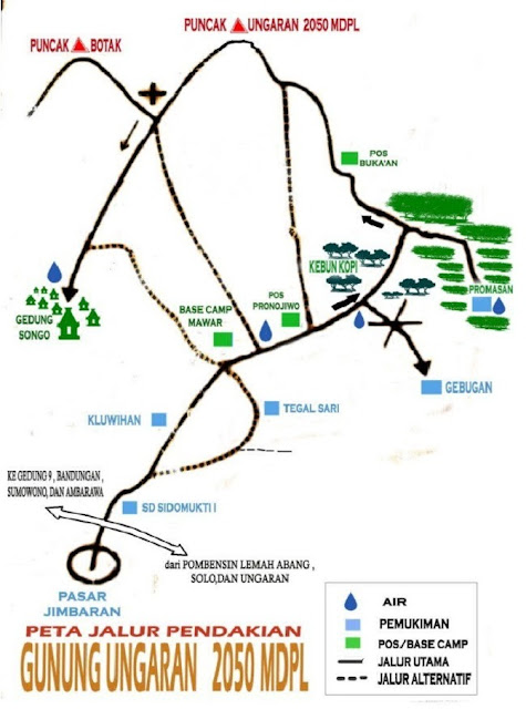 Peta Pendakian Gunung Ungaran via Jimbaran (Pos Mawar)